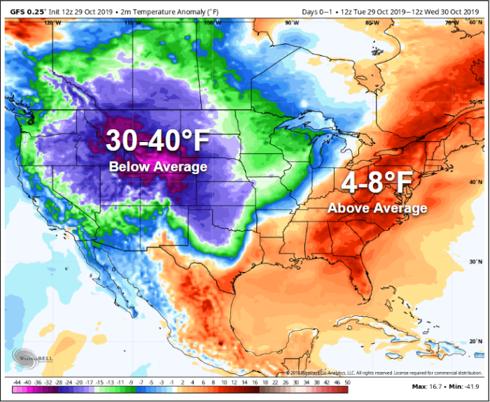 Figure 4. Tuesday October 29, 2019's 12z GFS 2m Temperature Anomaly map for the CONUS. – WeatherBELL.