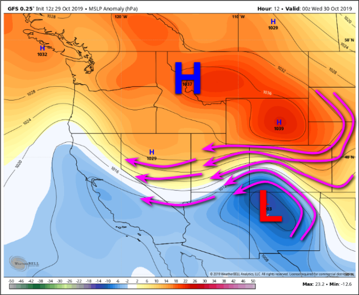 Figure 3. 12z run of the GFS; MSLP Anomaly (hPa) for 00z October 30, 2019. – WeatherBELL.